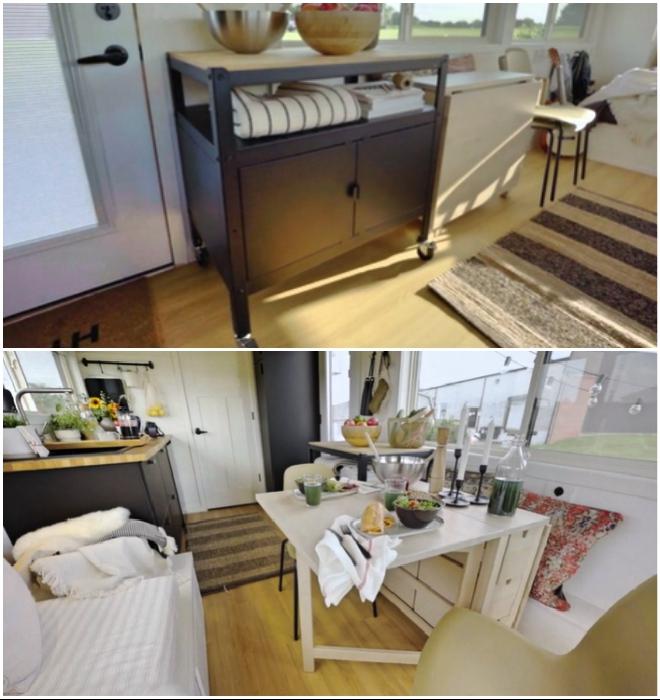 Стол-трасформер и тумба на колесиках – идеальные предметы для обустройства крошечных площадей (Ikea Tiny Home).