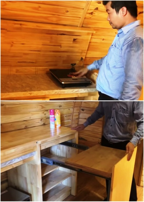Обычная с виду тумба превращается в настоящий кухонный гарнитур. | Фото: youtube.com.