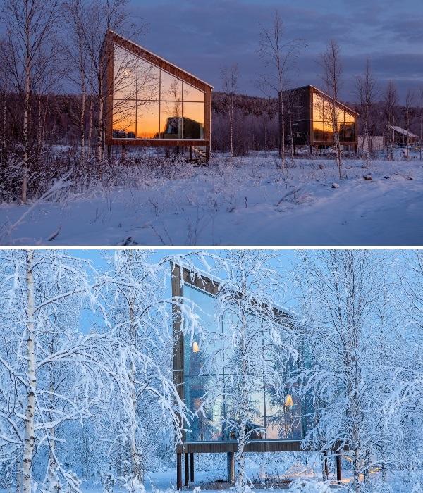 На живописном берегу реки Луле расположено еще 6 номеров на высоких сваях «Arctic Bath». | Фото: newatlas.com.