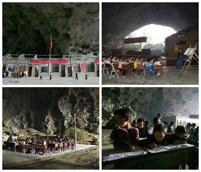 Бывшая школа пещерной деревни Чжундун. | Фото: youtube.com.