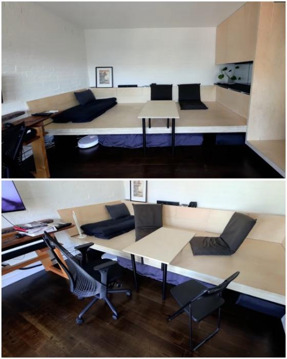 Когда приходят гости с помощью стола и специальных кресел можно организовать столовую. | Фото: youtube.com.