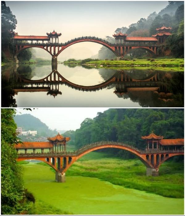 Мост не всегда может порадовать идеальным отражением, а вот красота архитектурных форм впечатляет (Эмэйшань, Китай). | Фото: askideas.com.