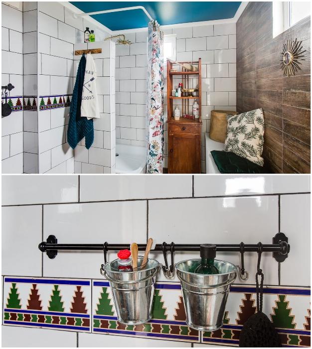 Ванная комната может «похвастаться» особым стилем оформления («Небанальный дачный домик», Истра). © Xenia Naletova.
