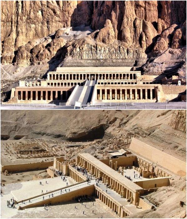 Заупокойный храм Хатшепсут в Дейр-эль-Бахри является главной частью комплекса Фиванского некрополя (Египет). | Фото: mirchudes.net.