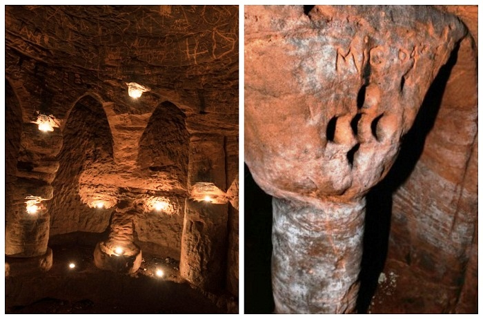 На колонне и стене были обнаружены изображения креста Ордена бедных рыцарей Христа (Caynton Caves, Великобритания).
