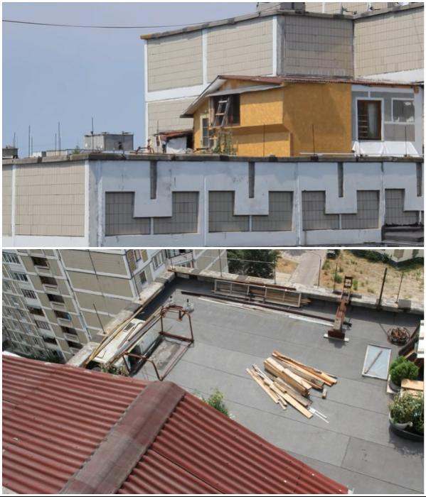 Так начиналось строительство дачи на крыше 12-ти этажного дома.   Фото: youtube.com/ © Украина.РУ.