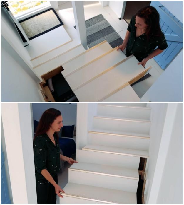 Под лестницей, ведущей на второй этаж, спрятали необходимое для обслуживания плавсредства оборудование и системы хранения («Blue Turtle», Окленд). | Фото: youtube.com/ © Living Big In A Tiny House.