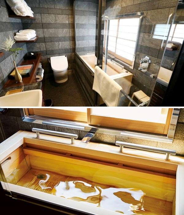 Ванная комната двухъярусного номера «Люкс» (Train Suite Shiki-shima). | Фото: archidom.ru.