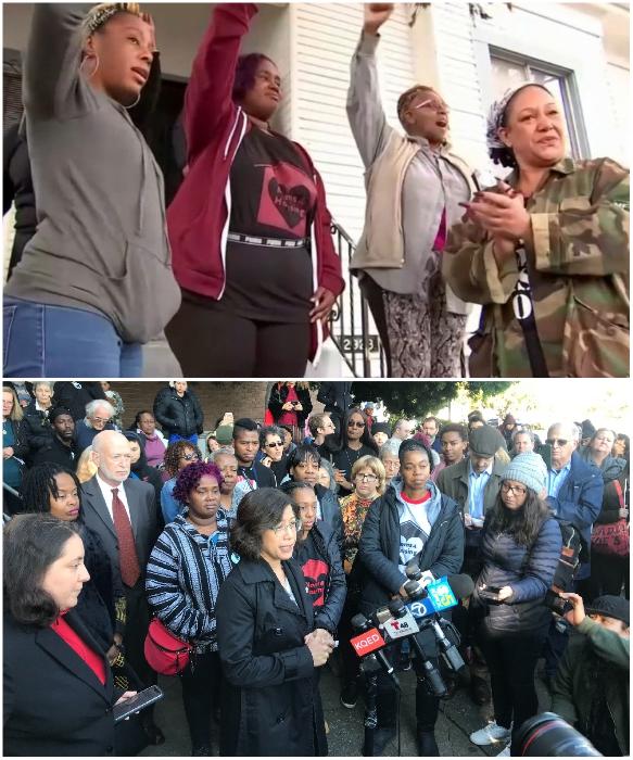 Сердобольный народ требует, чтобы «обездоленных» мамочек из «Moms 4 Housing» оставили в покое. | Фото: nbcbayarea.com/ kqed.org.