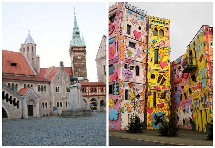 Разительный контраст архитектурных стилей (Брауншвейг, Германия).