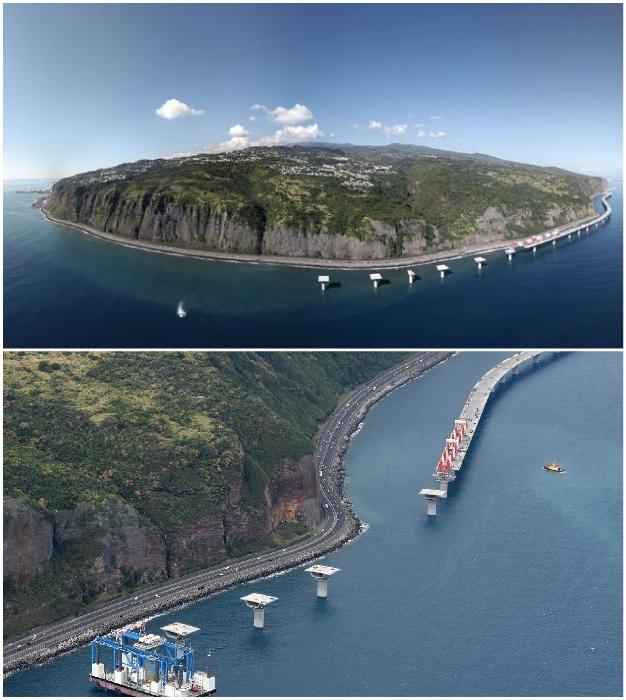 Французы вокруг острова La Reunion строят мост прямо в океане (Nouvelle Route du Littoral).