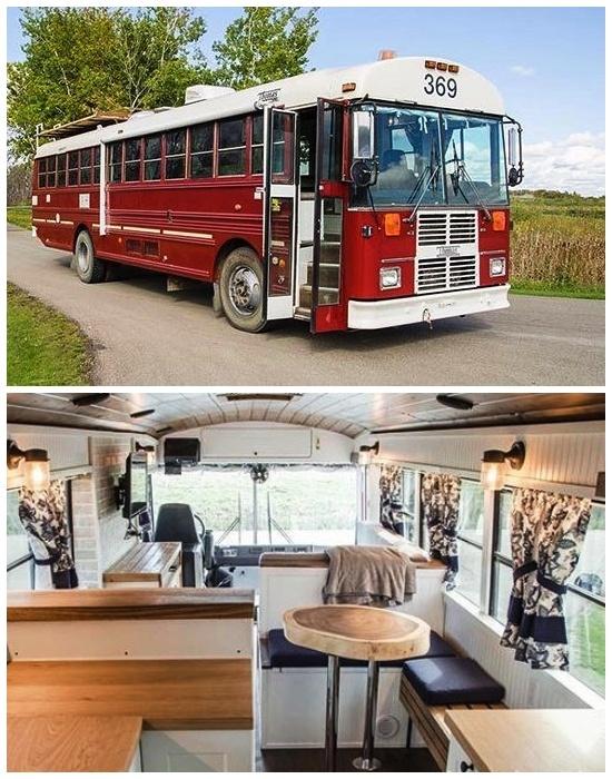 Этот автобус переоборудовали для пожарного с Торонто в стильный и комфортный дом на колесах. | Фото: boredpanda.com.