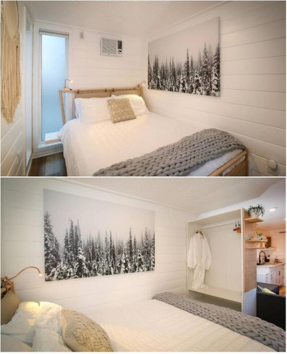 В спальне поместилась кровать и небольшая гардеробная. | Фото: morediva.com.