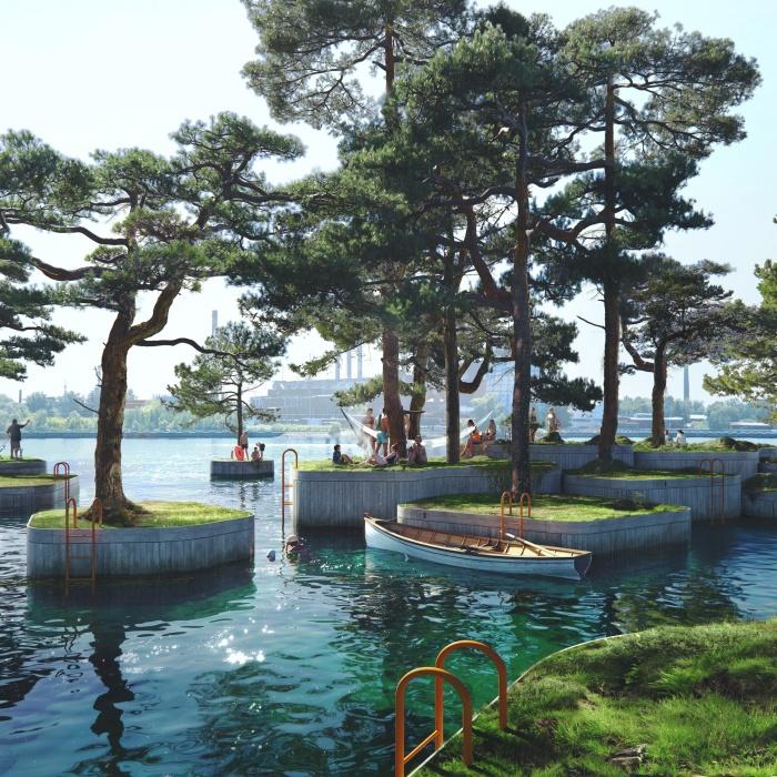 Дружественный дизайн Copenhagen islands украсит набережную и разнообразит отдых горожан (Копенгаген, Дания). | Фото: mymodernmet.com.