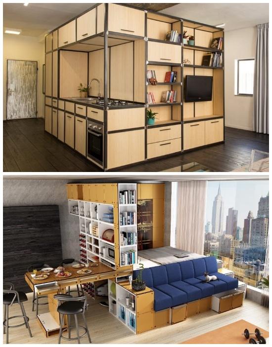 Идеальные варианты модульных конструкций для квартир-студий и маленьких площадей.