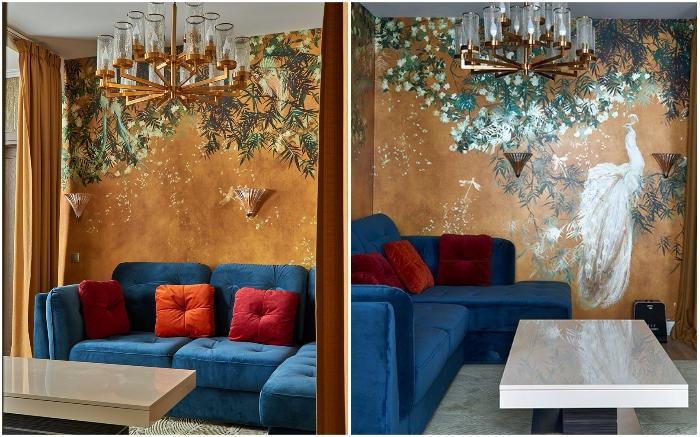 Зону гостиной украсили обои с ярким сюжетом выполненном в технике акварели.