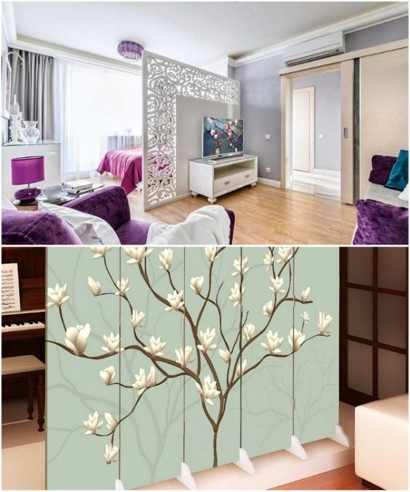 Одноэкранными ширмами удобно разделять спальную зону от кабинета или гостиной. | Фото: best-stroy.ru/ peregorodkainfo.ru.