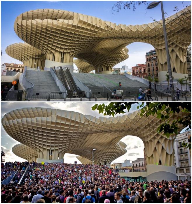 На открытой площади, под деревянными «зонтиками», проходят городские мероприятия («Метрополь Парасоль», Севилья). | Фото: ispaniagid.ru.