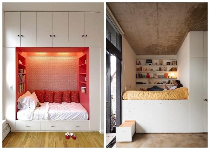 Интересные конструкции кроватей встроенных в шкаф. | Фото: dizajninfo.ru.