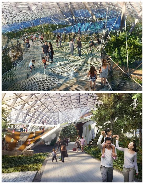 Развлекательный «Canopy Park» в мегасовременном комплексе «Jewel Changi Airport» (Сингапур).   Фото: thesingaporetravel.info.