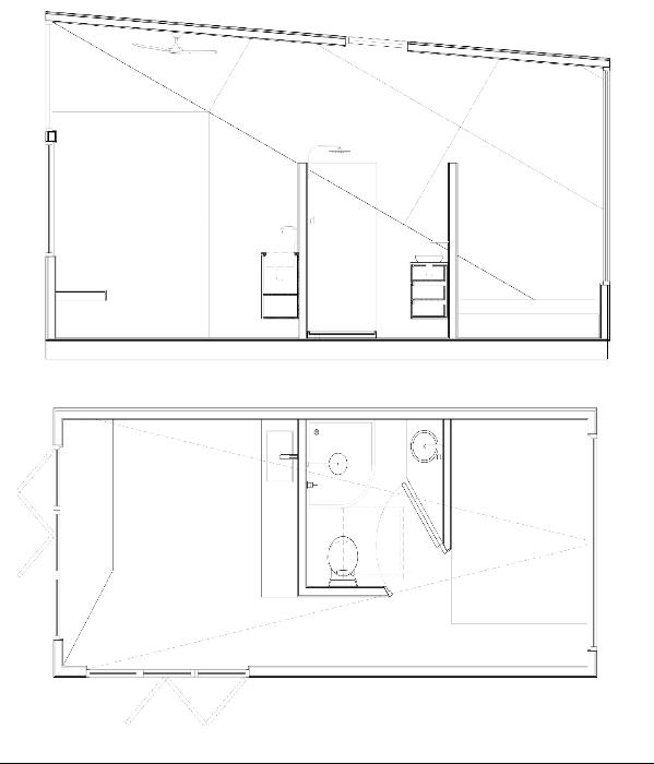 План-чертеж микро-дома на колесах «Base Cabin» от строительной фирмы «Studio Edwards» (Мельбурн). | Фото: dezeen.com.