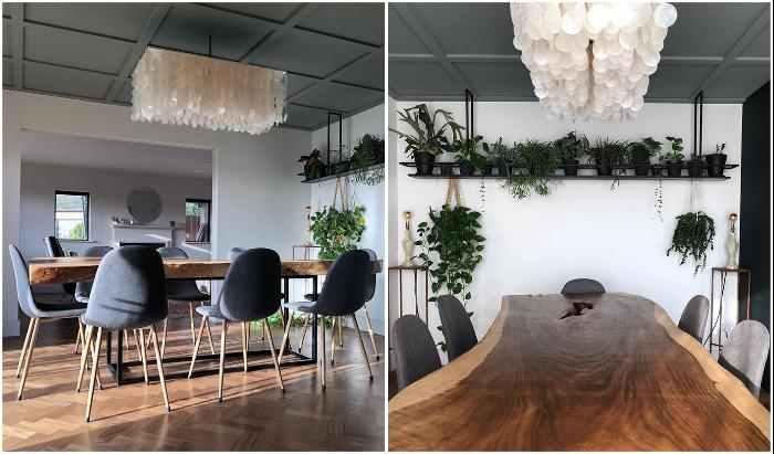 Интерьер обновленной столовой запомнится нереальным столом и эксклюзивной люстрой из ракушек. © Michaela | The old piggery.