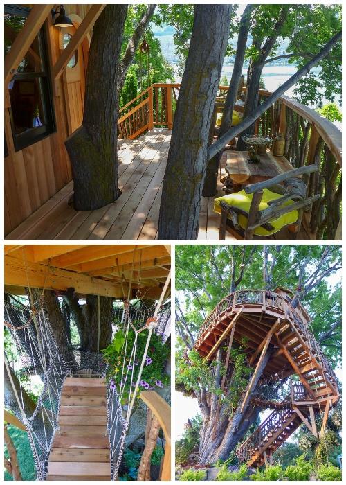 Открытые террасы, деревянная лестница и подвесной мостик создают сказочную атмосферу всему строению (Дом на озере Челан, США).
