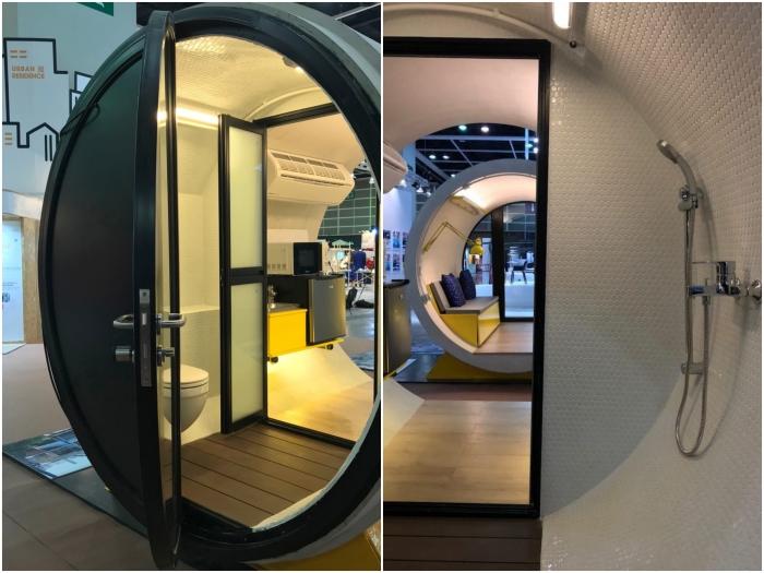 В каждом доме-трубе оборудована душевая и туалет (OPod Tube House, Гонконг). | Фото: mymodernmet.com.