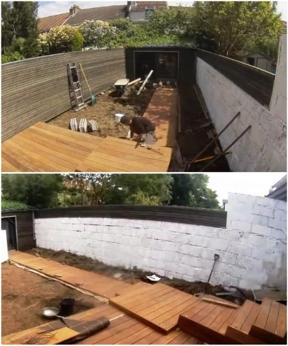 С помощью деревянного настила сделал дорожку к сараю и платформу для зоны отдыха. | Фото: youtube.com/ M A R V I N Atmoss'vert.