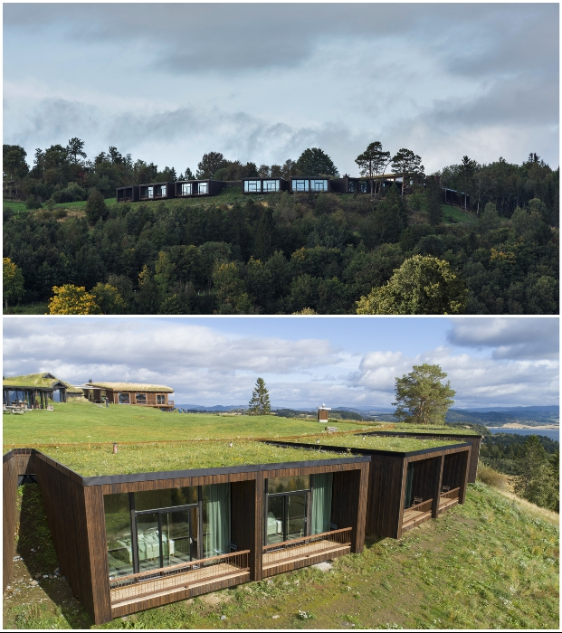 Отельные номера встроены в холм и практически полностью сливаются с окружающей природой («Культурный ландшафт Эйны», Норвегия).