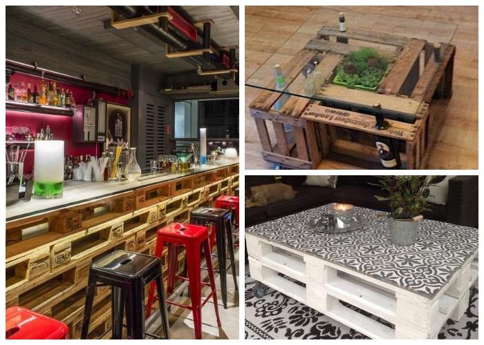 Эксклюзивные столы из поддонов и стеклянной столешницей могут украсить не только дачу или квартиру, но и кафе-бар.
