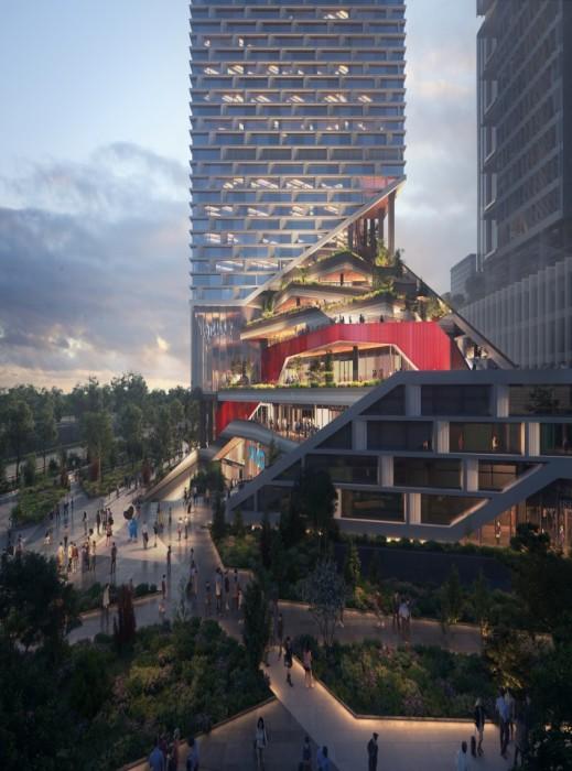 Размещение зеленых насаждений начнется с прилегающей территории городской площади (концепт NBBJ). | Фото: newatlas.com.