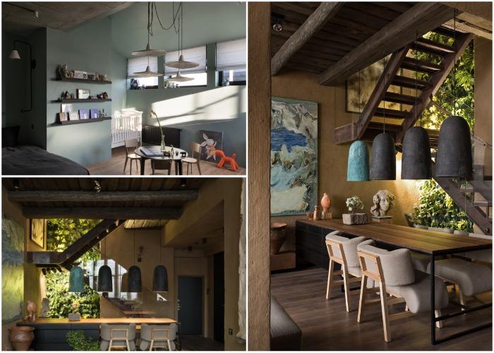 Необычные люстры спроектированы самим автором проекта (Wabi Sabi Apartment).