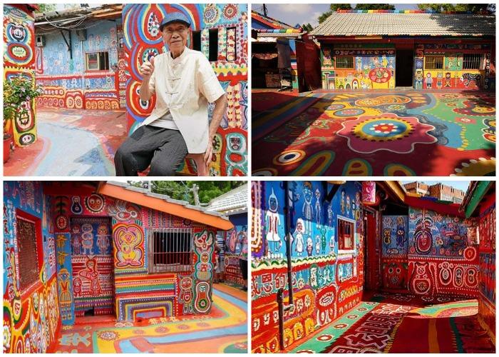 Чтобы спасти деревню Хуань Юнь Фу начал ее разрисовывать причудливыми узорами (Rainbow Village, Тайвань).