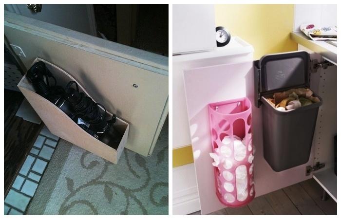 Дверцы любого шкафа станут удобным местом для расположения самых востребованных вещей.