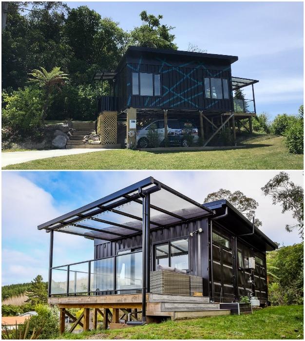 Современный домик, созданный из 3 грузовых контейнеров дизайнером из Новой Зеландии. © IQ Container Homes.
