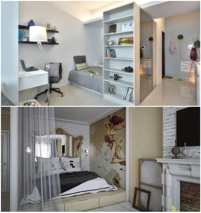 Подиум в нише поможет организовать спальню без приобретения кровати и лишних шкафов. | Фото: design-homes.ru/ otdelkakvartirspb.ru.