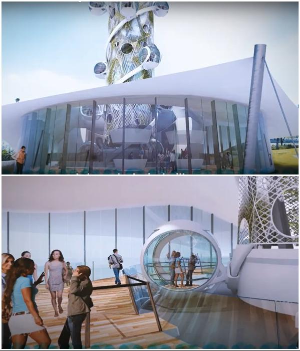 Путешествие начинается с большого павильона расположенного внизу аттракциона (концепт «Spiral Tower»). | Фото: youtube.com/ © NorthernLight.