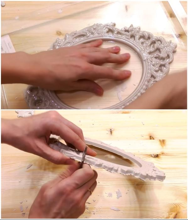 После полного застывания гипса декоративные элементы нужно вытащить из формы и зачистить наплывы ножом. | Фото: youtube.com/ © DrujkaLena.