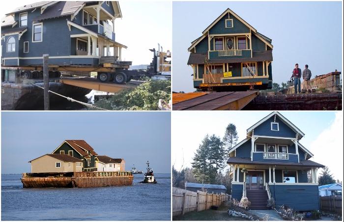 В Канаде умудрились перевезти старинный дом из одного города в другой, не разбирая строение (Британская Колумбия).