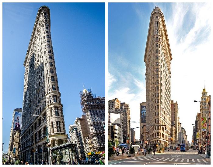 Флэтайрон-билдинг - самый знаменитый небоскреб-стена высотой 82 метра с шириной северного торца дома всего лишь 2 метра (Нью-Йорк, США).