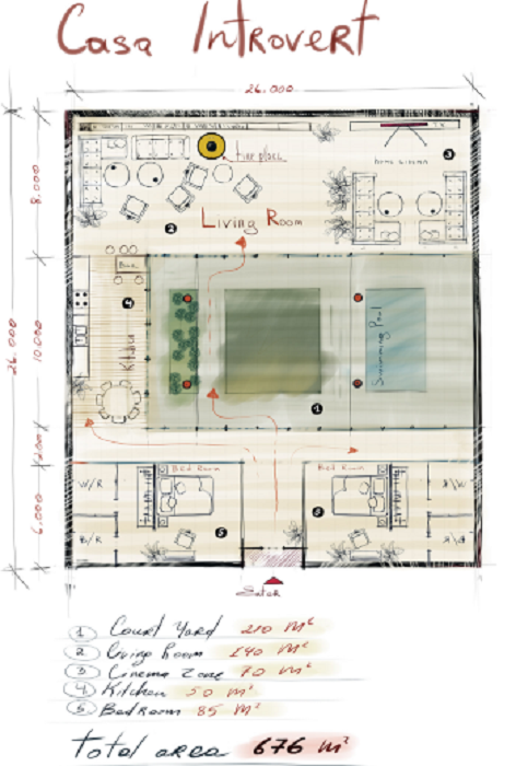 Дом-мечты на бумаге (визуализация «Casa introvert is dream house»).   Фото: behance.net/ © Elmir Huseynov.