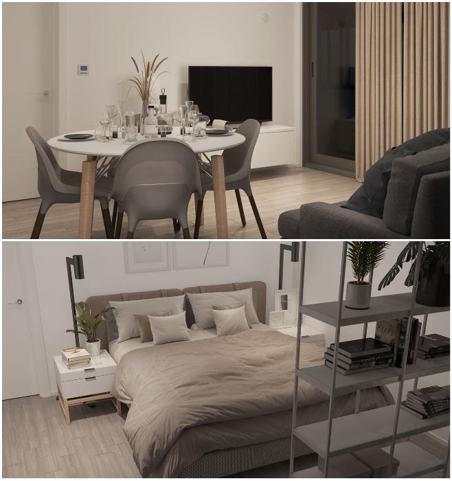 Интерьер гостиной и одной из спальных комнат в модели «Mighty Trio», стоимость которой составляет 185 тыс. дол. (San Ramon, Калифорния). | Фото: blog.mightybuildings.com/ © Mighty Building.