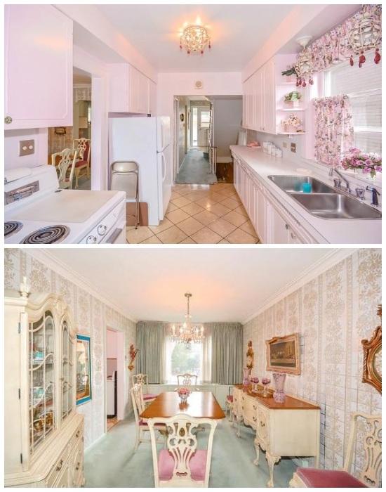Кухня и столовая в «Жемчужине, скрывающейся в раковине». | Фото: informeconstruccion.com.