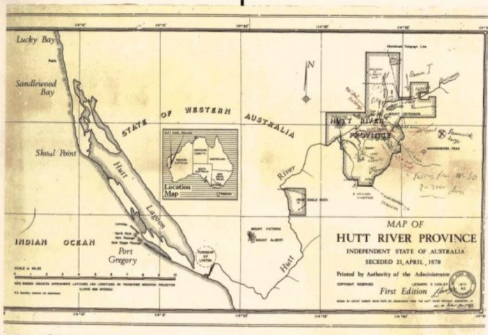 Карта самопровозглашенного «Княжества Хатт-Ривер» (Австралия). | Фото: blog.ostrovok.ru.