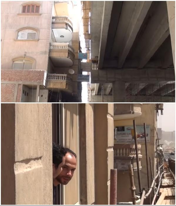 Теперь до скоростного шоссе можно дотянуться рукой, причем из окна собственной квартиры! («Teraet Al-Zomor Bridge», Египет). | Фото: youtube.com/ @ ElWatan News.
