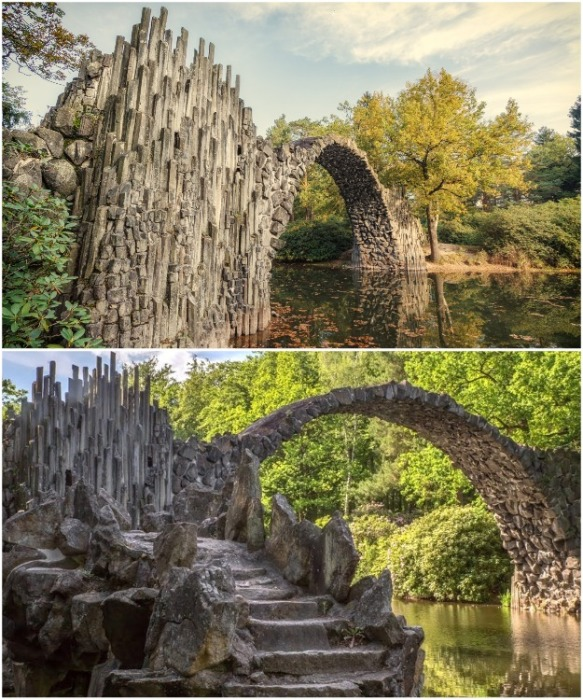 Острые зубья базальтовых столбов придают сооружению более мистический и жуткий образ (мост Ракотцбрюке, Германия). | Фото: bigpicture.ru.