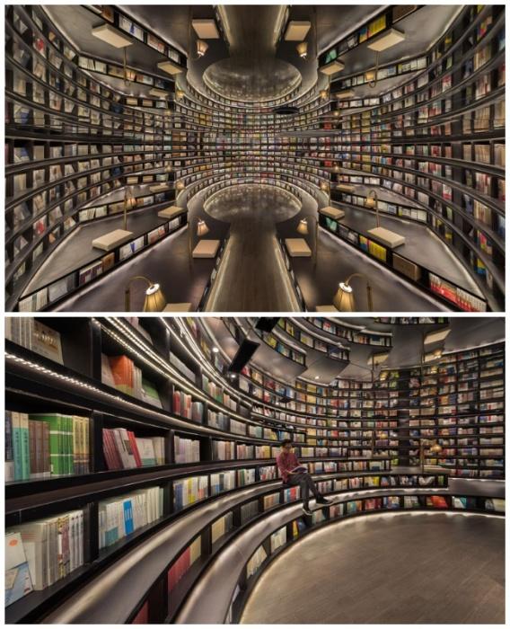 Полки в одной из секций имеют особую форму, совмещая площадь для хранения книг и площадку для сидения (Книжный магазин в Ханчжоу, Китай). | Фото: decorpro.blog.