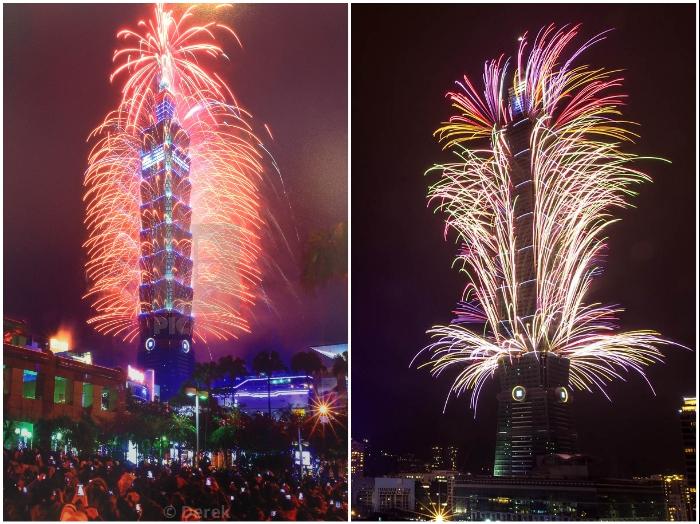 Каждый Новый год здание превращается в потрясающее световое шоу-фейерверков (Тайбэй 101, Тайвань). | Фото: taipei.baogaosu.com/ flickr.com.