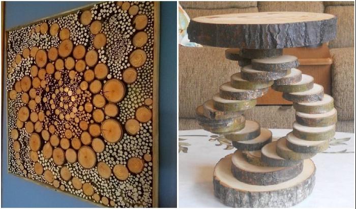 Сложные панно и необычная мебель из срезов дерева украсят любой современный интерьер. | Фото: m-strana.ru/ pinterest.ru.